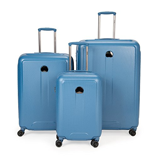 Cheap Delsey Luggage Embleme 3 Piece Polycarbonate Lug, Blue