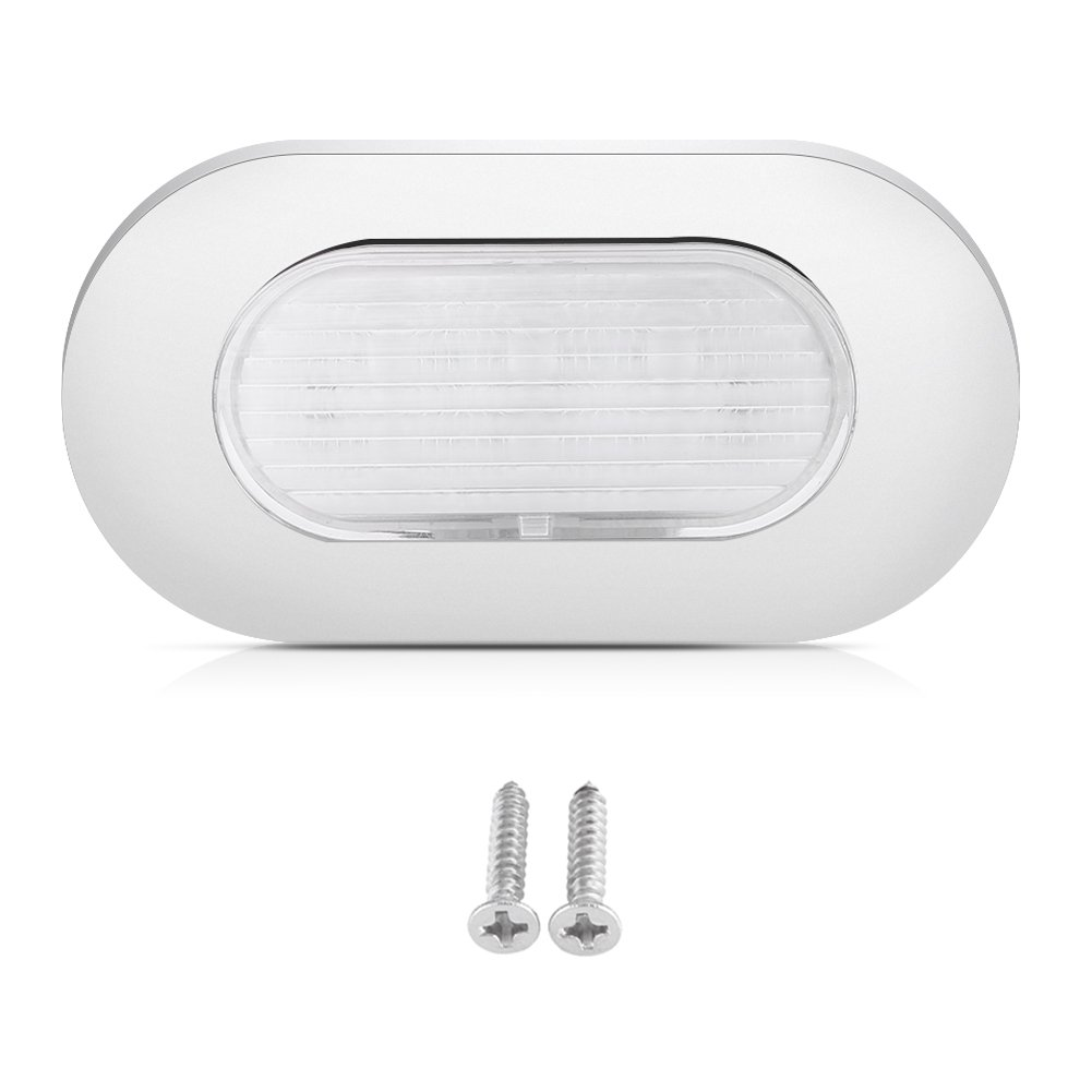 12V White LED Boat Yacht Stainless Steel Oblong Courtesy Light Stair Deck Usage