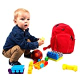 DURAGADGET Bright Red Water-Resistant Compact Backpack Organiser for Kids Lego / Duplo Bricks - with Additional Raincover