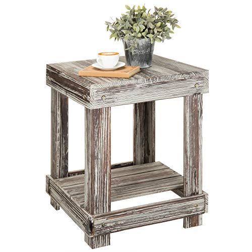 MyGift Rustic Torched Wood 2-Tier Accent End Table (Distressed Wood Table)