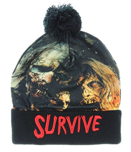 The Walking Dead Sublimated Survive Text Cuff Pom Beanie (Awesome Beanie)