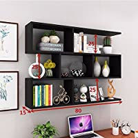 The wall built-in shelf Wine Rack creative wall mount wall mount restaurant ceiling cabinets living room wall cabinets modern minimalist wall cabinets bookshelves ,801525cm, black
