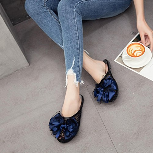 Womens Sandals ,Clode® Ladies Gilrs Summer Bohemia Lace Hollow Out Close Toe Bowknot Flat Platform Slippers Sandals Shoes Blue