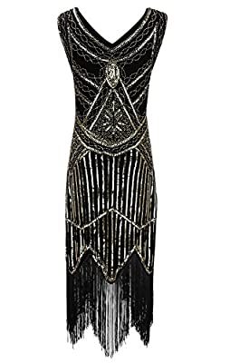 BelinlaAny Women's 1920s Gastby Inspired Sequined Embellished Fringed Flapper Dress