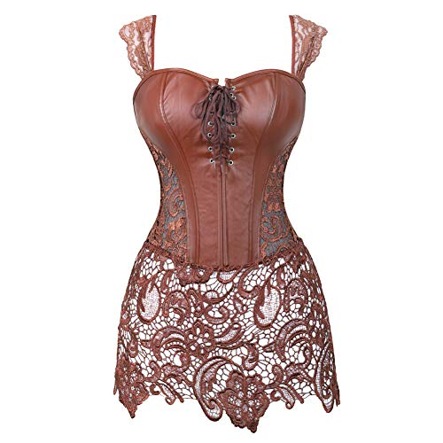 Grebrafan Steampunk Faux Leather Bustier Corset with Lace Skirt (US(6-8) M, Brown)]()