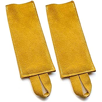 Great Useful Stuff All Purpose Leather Suede Hot Pads, Hot Handle Holder. Mustard, Set of 2