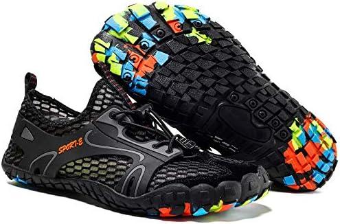 男性と女性のウォーターシューズサーフィンビーチスイミングシュノーケリングと速乾性排水通気性のソフトで軽量なアンチカットゴムバンドカップルアップストリームハイキングアウトドアスポーツとレジャー中立靴 ポータブル (色 : Black, Size : US8.5)