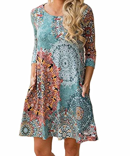 Long Sleeve Printed Tunic Dress - Women's Long Sleeve Floral Printed Casual Swing T-shirt Tunic Dress with Pockets (L, Multi)