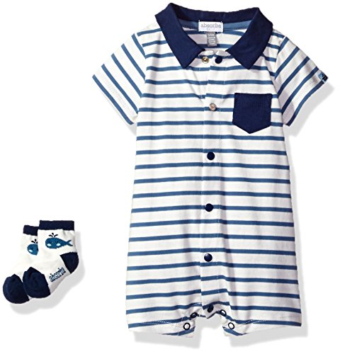Absorba Baby Boys' Romper and Sock Set, Blue/White, 3/6