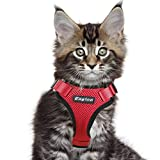 Eagloo Cat Harness Escape Proof Small Cat and Dog Harness Soft Mesh Harness Adjustable Cat Vest Harness with Reflective Strap Metal Clip Cat Walking Jacket Comfort Fit for Kitten Puppy Red X-Small