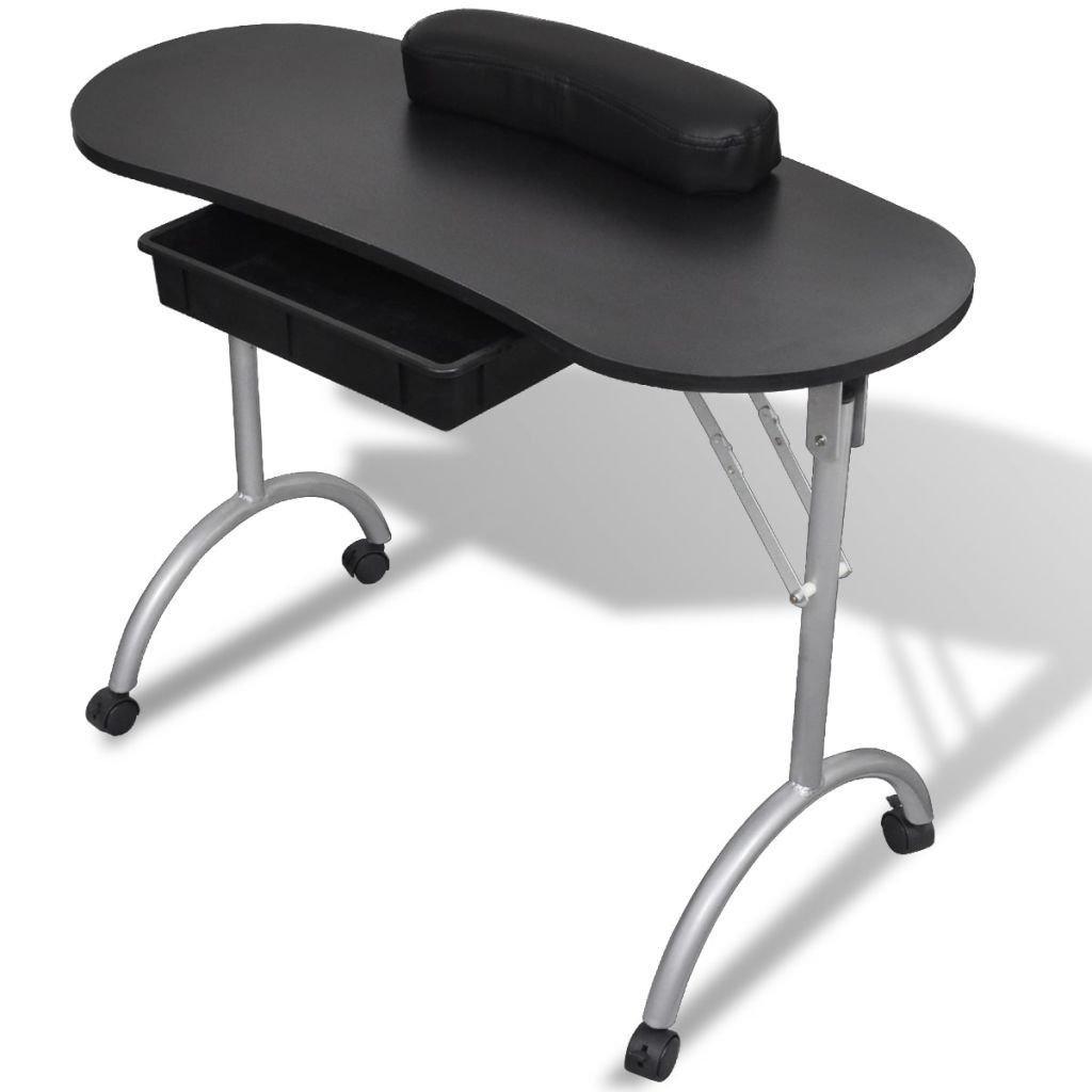 Large Black Portable Manicure Nail Table Station Desk Spa Beauty Salon Equipment
