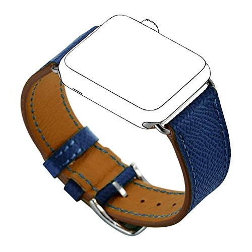 3 Series Single - Maxjoy for Apple Watch Band - Genuine Leather Watchband 42mm iWatch Strap Wristband with Metal Clasp Adapters Replacement Bracelet for Apple Watch Series 3, 2, 1 Sport Edition, Single Tour (Dark Blue)