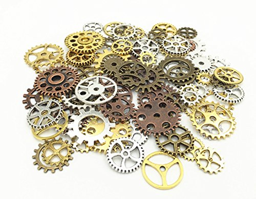 HuanX35 100 Gram DIY Assorted Antique Cog Wheel Steampunk Gears Charms Pendant Clock Watch Wheel Gear for Crafting Jewelry Making Accessory(Assorted (Steampunk Diy Costume)