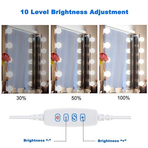 LED Spiegelleuchte,Sylvwin Hollywood Stil Schminklicht mit 10 Dimmbar Glühbirne,Schminktisch Leuchte,Schminkleuchte,Spiegellampe mit 3 Farbmodi für Schminkspiegel,Schminktisch und Kosmetikspiegel