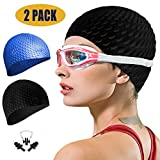 Swim Cap Women 2 Pack Swimming Cap for Long Hair for Women Men Kids with Nose Clip and Ear Plugs