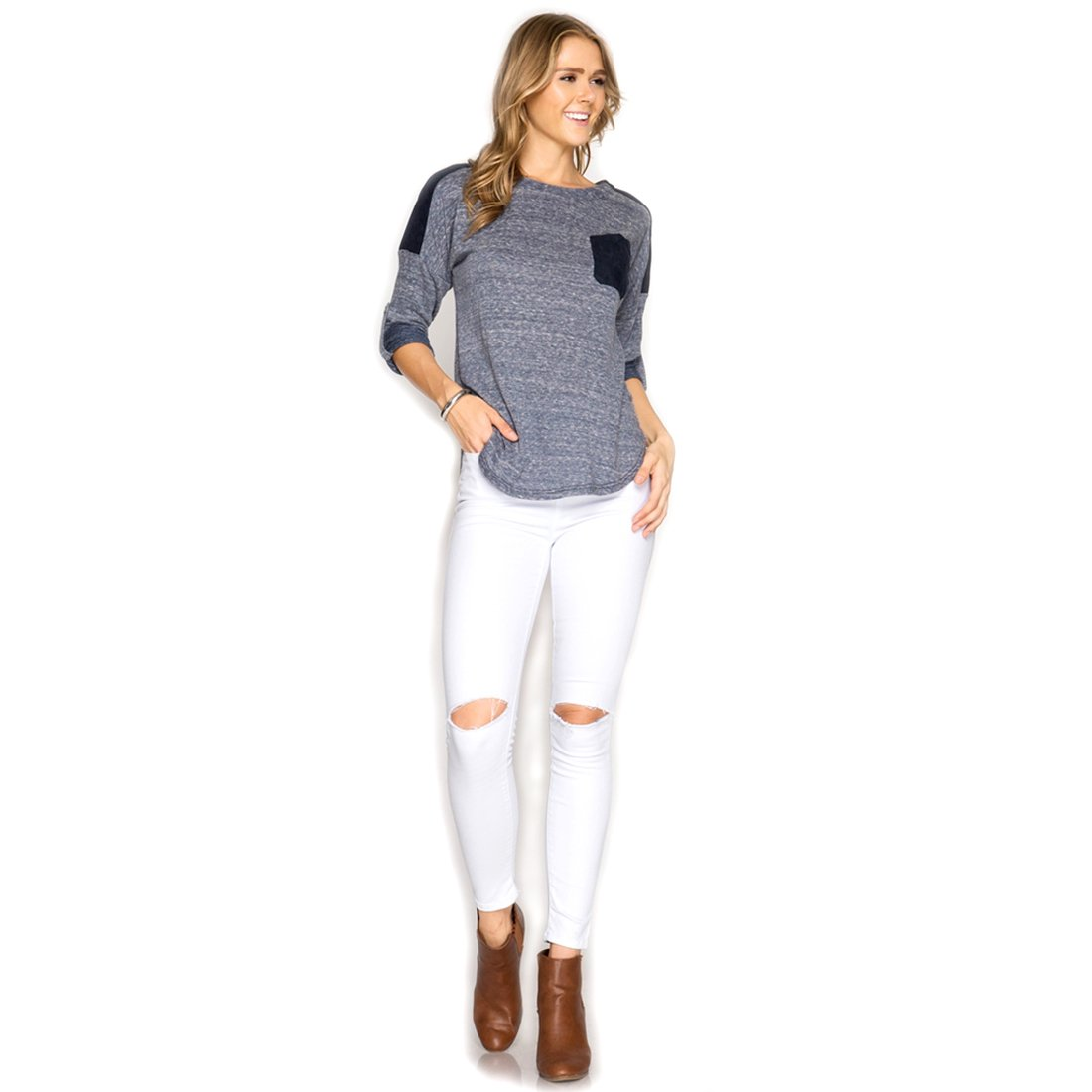 Large Sky Blue Long Roll-up Sleeve Terry Top w//Dark Faux Suede Accents She