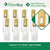 8 - FilterBuy Oreck Type CC Replacement Vacuum Bags. Oreck Part #'s CCPK8 & CCPK8DW. Designed by FilterBuy to replace Oreck CC Paper Vacuum Bags