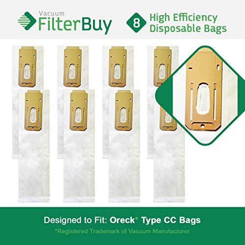 8 - FilterBuy Oreck Type CC Replacement Vacuum Bags. Oreck Part #'s CCPK8 & CCPK8DW. Designed by FilterBuy to replace Oreck CC Paper Vacuum Bags by FilterBuy