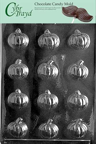 Cybrtrayd T017 Small Pumpkin Life of the Party Chocolate Candy Mold with Exclusive Cybrtrayd Copyrighted Chocolate Molding Instructions