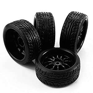 Yiguo Black Plastic 12-Spoke Wheel Rims and Diagonal Pattern Tires for HSP HPI RC 1:10 Drift Car set of 4