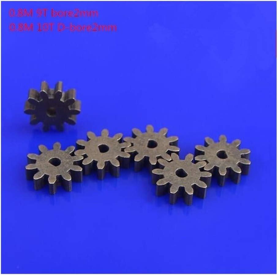 Engranaje 10pcs Modelo RC Accesorios de bricolaje hierro Engranajes Módulo 0.8 9T 10T engranaje interior 2/2.05mm Micro Mini Motor Engranajes engranaje impulsor (tamaño : 0.8M 9T)