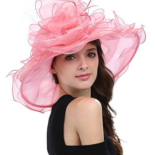 Janey&Rubbins Women's Feathers Floral Fascinating Kentucky Church Wedding Party Floppy Hat (Pink)