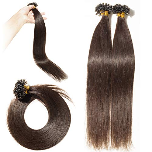 U Tip Human Hair Extensions 100 Strands Keratin Pre Bonded U/Nail Tip 100% Remy Real Human Hair Soft Silky Straight 18
