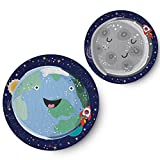 Pillow & Toast Solar System Melamine Kids Plates, Moon & Earth, Outer Space Planet Children Dinner Set