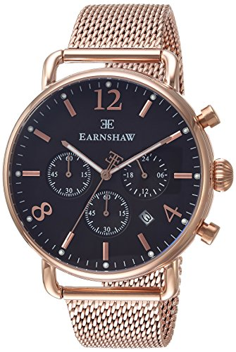 Thomas Earnshaw Men's 'INVESTIGATOR' Quartz Stainless Steel Dress Watch, Color:Rose Gold-Toned (Model: ES-8001-66)
