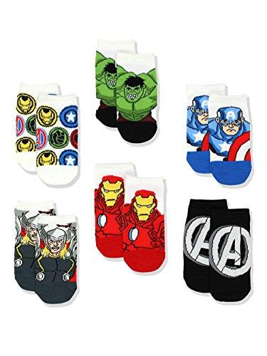 Avengers Boys Multi pack Socks (4-6 Toddler (Shoe: 7-10), White/Multi) from Marvel