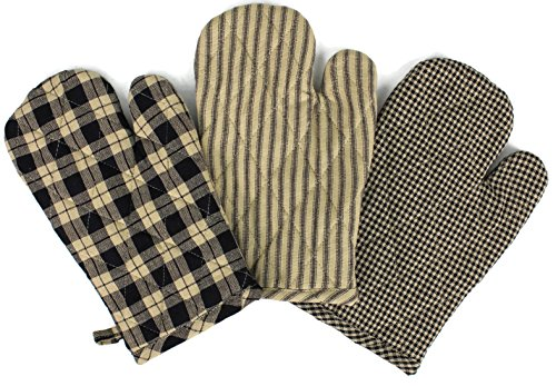 (Rustic Covenant Woven Cotton Farmhouse Oven Mitts, Set of 3, 7 inches x 10.5 inches, Antique Black/Natural Tan)