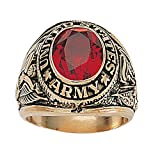 united states army ring - Palm Beach Jewelry Men's 14K Yellow Gold-Plated Antiqued Oval Cut Simulated Red Ruby United States Army Ring Size 12