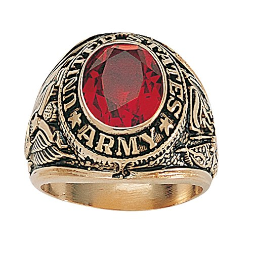 Palm Beach Jewelry Men's Oval-Cut Simulated Red Ruby Antiqued 14k Yellow Gold-Plated Army Ring Size 10 - 10 Oval Mens Ring Setting