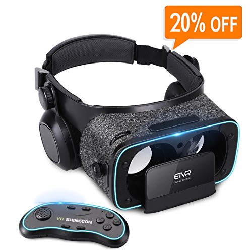 3D VR Headset With Remote Controller for 3D Movies & VR Games, Skin-Friendly Lightweight Comfortable Virtual Reality Headset with Stereo Headphone, Fit for 4.7''-6.2'' iPhone and Android Smartphones by EXCLEAD
