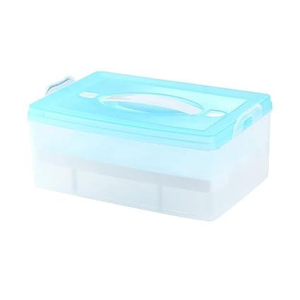 KOBWA 24 Huevos Soporte Nevera Caja de Almacenamiento contenedor para Huevos Bandeja con Tapa 2 Capas
