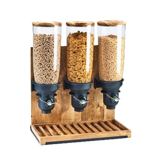 Cal-Mil 3576-3-99FF Free Flow Cereal Dispenser, 3 Cylinders, 26.5'' Height, 19.25'' Width, 9.75'' Length, Madera by Cal Mil