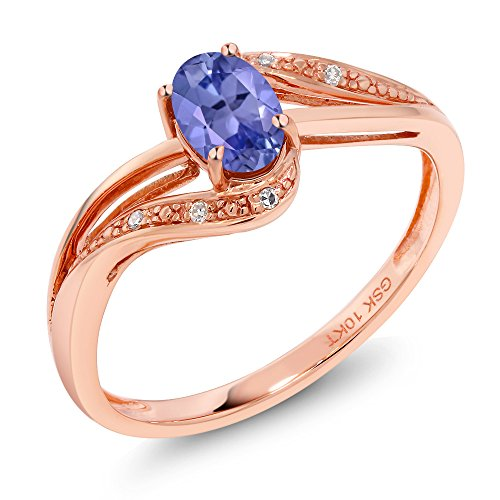 Gem Stone King 10K Rose Gold 0.49 Ct Blue Tanzanite and Diamond Engagement Bypass Ring (Bypass Ring) (Size 5)