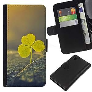 KLONGSHOP // Tirón de la caja Cartera de cuero con ranuras para tarjetas - Día trébol viñeta verde del irlandés de San Patricio - Sony Xperia Z1 L39 //