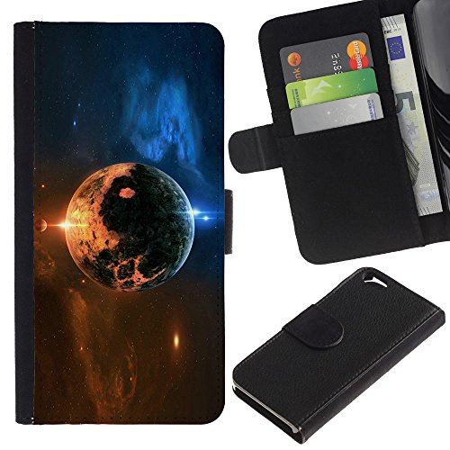 Funny Phone Case // Cuir Portefeuille Housse de protection Étui Leather Wallet Protective Case pour Apple Iphone 6 /Espace/