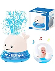 wentgo Baby Bath Toy, Floating Sprinkle Electric Induction Water Spray Toy Cute Water Spray Whale Bath Toy with LED Light for Bath Shower Swimming Pool