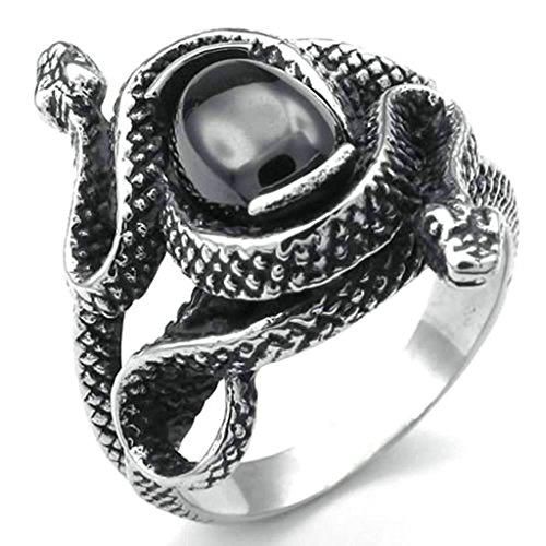 Daesar Stainless Steel Rings Mens Bands Vintage Rings Snake Silver Black Ring 26MM Size:9