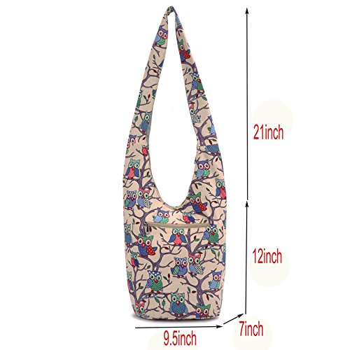 canvas Bags Hand Cotton MIANZI Fashion Prints Bohemian Off Animal Bags Crossbody Women Hobo white qTxUwt