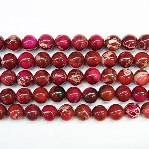 TheTasteJewelry 12mm Round Sea Sediment Dark Red Jasper Beads 15 inches 38cm Jewelry Making Necklace Healing