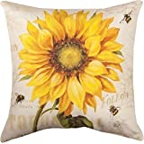 JGArtStore Cotton Linen Square Throw Pillow Case Cushion Cover Throw Pillow Shell Pillowcase for Sofa Sunflower bee 18 X 18
