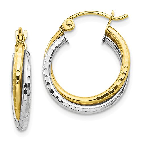 10k Two Tone Yellow Gold Textured Twist Hoop Earrings Ear Hoops Set Fine Jewelry Gifts For Women For Her