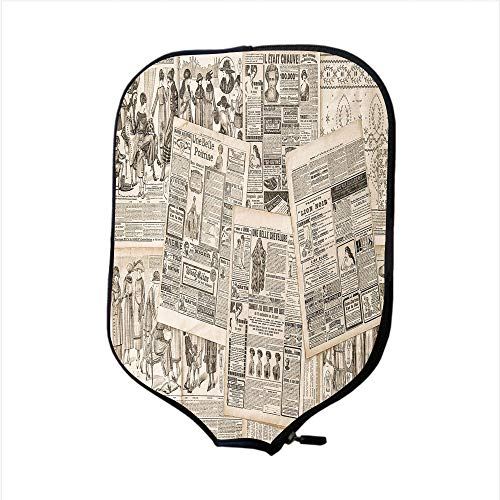 Paddle Racket Cover Case,Old Newspaper Decor,Nostalgic Aged Pages with Antique Advertising Fashion Magazines Print Decorative,Black Tan,Fit For Most Rackets - Protect Your Paddle ()