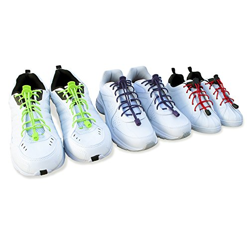 - No Tie Stretch Shoelace with Easy Lock (7 Pairs, One Size Fits All) Colors Casual, Fitness, Running, Walking, Hiking, Comfort & Athletic Shoes