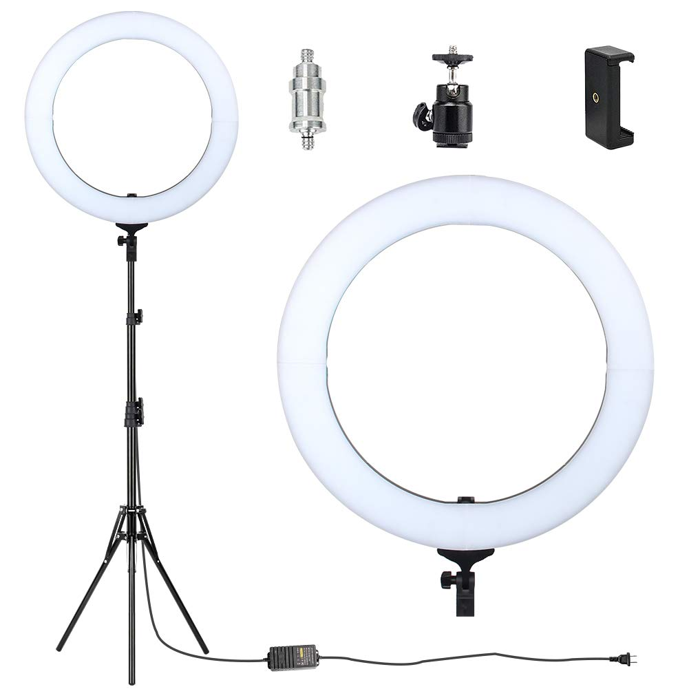 18'' Ring Light with stand,ZoMei Dimmable LED Ring Light with tabletop stand for making up, youtube videos with ballhead, phone holder & diffuser clot