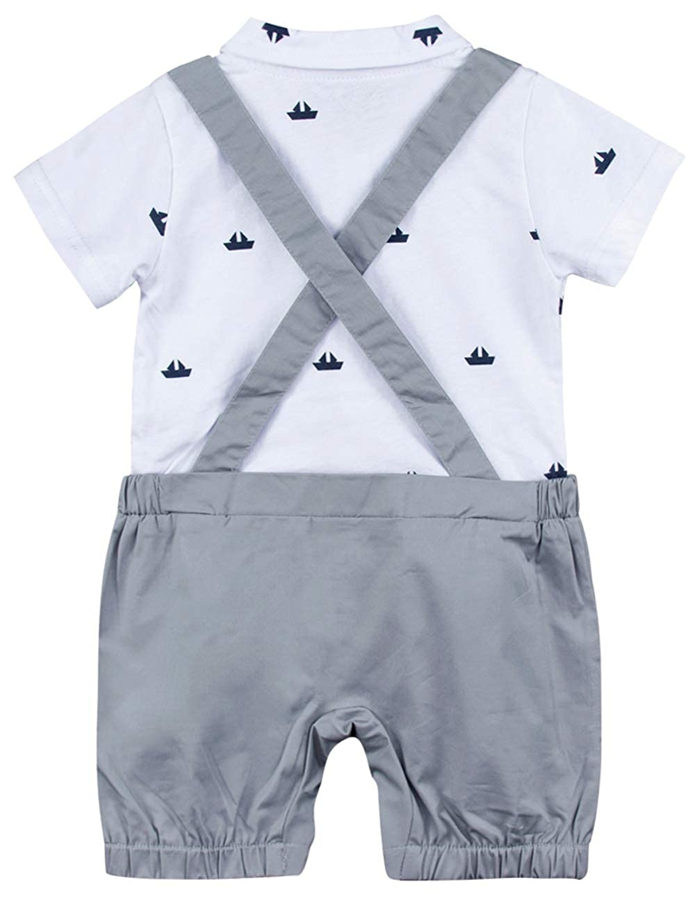 A/&J DESIGN Baby Boys Gentleman Romper Surspender Overall with Bowtie