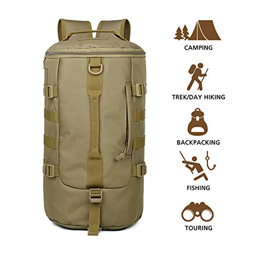 Hisea Outdoor Hiking Backpack 19L – Durable Nylon Waterproof Daypack Tactical Military MOLLE Rucksacks with Ergonomic Design for Cycling Camping Travelling